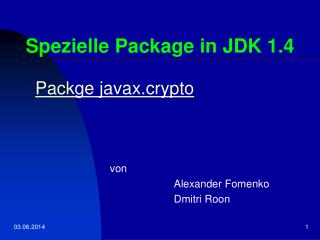 Spezielle Package in JDK 1.4