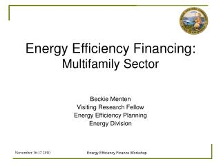 Energy Efficiency Financing: Multifamily Sector
