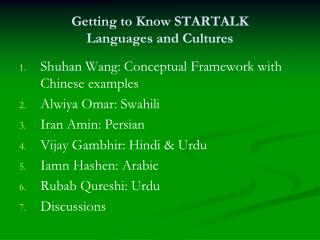 Getting to Know STARTALK  Languages and Cultures