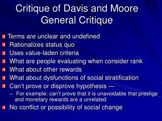 Critique of Davis and Moore General Critique