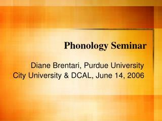 Phonology Seminar