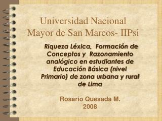 Universidad Nacional Mayor de San Marcos- IIPsi