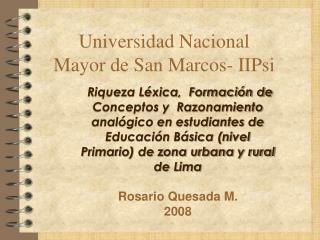 Universidad Nacional Mayor de San Marcos- IIPsi