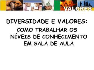 DIVERSIDADE E VALORES:  COMO TRABALHAR OS N VEIS DE CONHECIMENTO EM SALA DE AULA