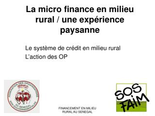 La micro finance en milieu rural