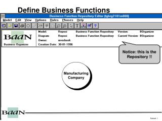 Define Business Functions