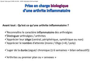 Prise en charge biologique  d une arthrite inflammatoire