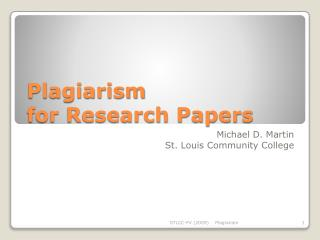 Plagiarism for Research Papers