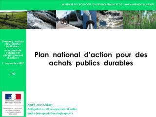 Plan  national  d action  pour  des achats  publics  durables