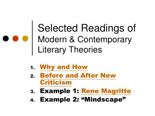 Selected Readings of Modern  Contemporary Literary Theories