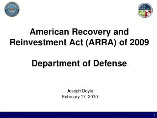 American Recovery and Reinvestment Act ARRA of 2009  Department of Defense