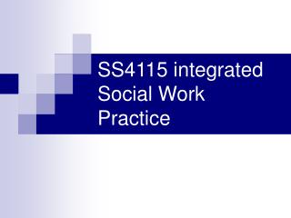 SS4115 integrated Social Work Practice