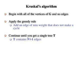 Kruskal s algorithm