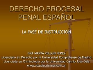 DERECHO PROCESAL PENAL ESPA OL