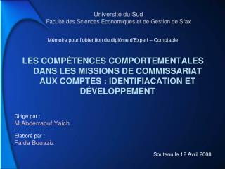 Universit  du Sud Facult  des Sciences Economiques et de Gestion de Sfax