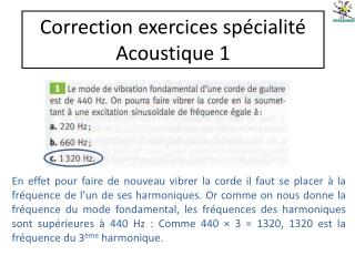 Correction exercices sp cialit   Acoustique 1