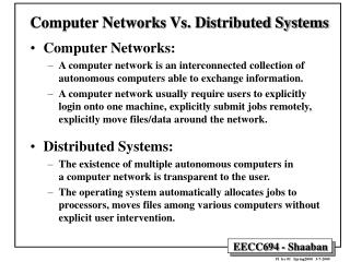 Computer Networks Vs. Distributed Systems