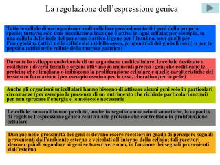 La regolazione dell espressione genica