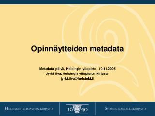 Opinn ytteiden metadata