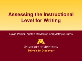 Assessing the Instructional Level for Writing