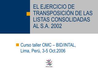 EL EJERCICIO DE TRANSPOSICI N DE LAS LISTAS CONSOLIDADAS AL S.A. 2002