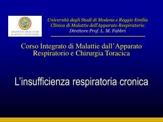 Corso Integrato di Malattie dall Apparato Respiratorio e Chirurgia Toracica