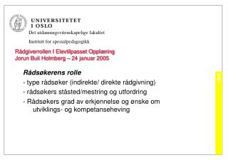 R dgiverrollen I Elevtilpasset Oppl ring Jorun Buli Holmberg   24 januar 2005