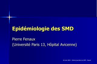 Epid miologie des SMD