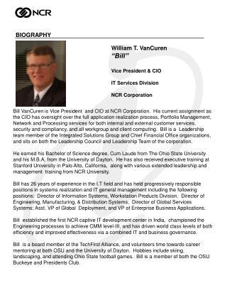 William T. VanCuren  Bill   Vice President  CIO  IT Services Division  NCR Corporation