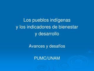 Los pueblos ind genas  y los indicadores de bienestar  y desarrollo  Avances y desaf os  PUMC