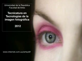 Universidad de la Rep blica  Facultad de Artes  Tecnicatura en Tecnolog as de la imagen fotogr fica    2012