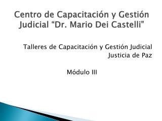 Centro de Capacitaci n y Gesti n Judicial  Dr. Mario Dei Castelli