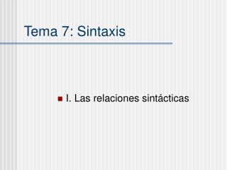 Tema 7: Sintaxis