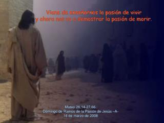 Mateo 26,14-27,66.  Domingo de Ramos de la Pasi n de Jes s  A- 16 de marzo de 2008