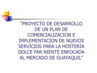PROYECTO DE DESARROLLO DE UN PLAN DE COMERCIALIZACION E IMPLEMENTACION DE NUEVOS SERVICIOS PARA LA HOSTERIA DOLCE FAR N