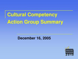 Cultural Competency Action Group Summary