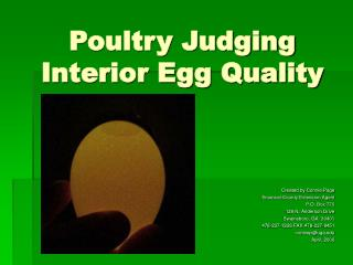 Poultry Judging Interior Egg Quality