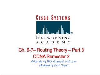 Ch. 6-7  Routing Theory   Part 3 CCNA Semester 2 Originally by Rick Graziani, Instructor Modified by Prof. Yousif