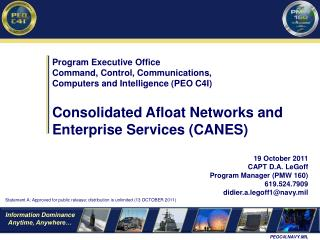 Program Executive Office Command, Control, Communications,  Computers and Intelligence PEO C4I  Consolidated Afloat Netw