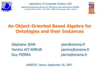 An Object-Oriented Based Algebra for Ontologies and their Instances