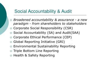 Social Accountability  Audit