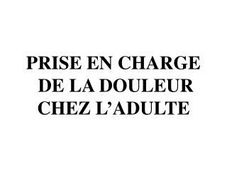 PRISE EN CHARGE  DE LA DOULEUR  CHEZ L ADULTE