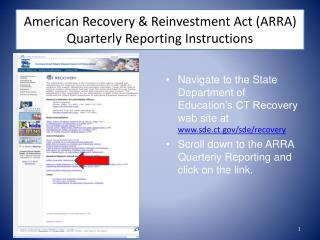 American Recovery  Reinvestment Act ARRA  Quarterly Reporting Instructions