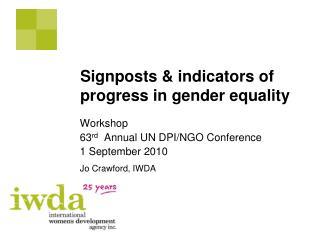 Signposts  indicators of progress in gender equality