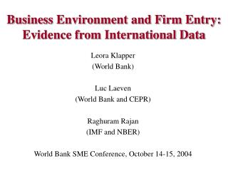 Business Environment and Firm Entry:  Evidence from International Data