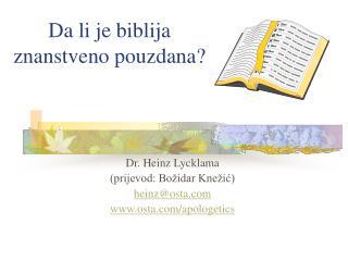 Da li je biblija znanstveno pouzdana