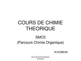 COURS DE CHIMIE THEORIQUE
