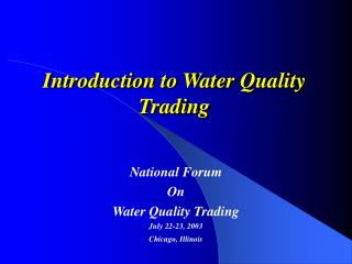 Introduction to Water Quality Trading