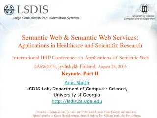 Semantic Web  Semantic Web Services: Applications in Healthcare and Scientific Research   International IFIP Conference