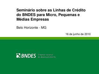 Semin rio sobre as Linhas de Cr dito do BNDES para Micro, Pequenas e M dias Empresas   Belo Horizonte - MG